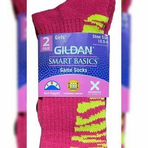 2 For $12 Girls 2 Pack of Gildan Socks